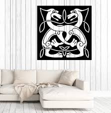 Large Vinyl Decal Wall Sticker Abstract Animal Couple Dog Celtic Style Wallstickers4you