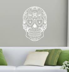 Sugar Skull Head Wall Decal Wall Art Home Decor Wall Sticker Skull Boys Room Living Room Wall Mural Art Vinyl Decoration M 50 Wall Sticker Decorative Wall Stickershome Decor Wall Sticker Aliexpress