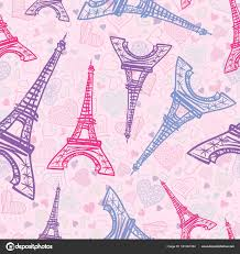 Vector Drawing Pink Eifel Tower Paris Seamless Repeat Pattern Surrounded By St Valentines Day Hearts Of Love Perfect For Travel Themed Postcards Greeting Cards Wedding Invitations Stock Vector C Oksanciaart 181381494