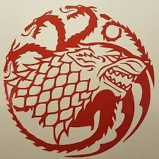 Game Of Thrones Inspired Die Cut Vinyl Decal House Stark Over Targaryen Sigil Ebay