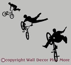 Bmx Biker Silhouette Set Of 3 Boys Wall Art Vinyl Sticker Decals