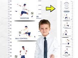 Football Height Chart For Kids Growth Wall Chart Kids Room Etsy