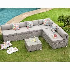 7 piece outdoor furniture set warm gray