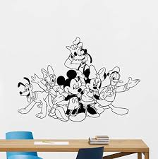 Amazon Com Mickey Minnie Mouse Donald Duck Goofy Pluto Webbigail Vinyl Wall Decal Boy Walt Disney Characters Cartoons Vinyl Sticker Baby Girl Boy Custom Kids Room Wall Art Bedroom Nursery Wall Decor Mural