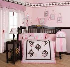 pink and brown crib bedding