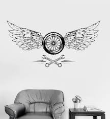 Vinyl Wall Decal Wheel Wings Car Repair Garage Stickers Mural Unique Gift Ig3599 With Images Vinyl Wall Decals Cars Mural Garage Repair