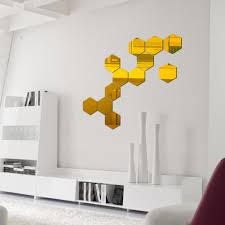 Mirror Wall Stickers Golden Hexagon Household Wall Decor Removable Sticking Mirror Decal Living Room Decoration Vinyl Wall Decals Kids Vinyl Wall Decor From Unclouded01 22 34 Dhgate Com