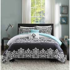 aqua blue black white comforter set