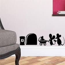 Freeship Children Mouse Family Hole Wall Stickers Room Decoration Diy Vinyl Home Decal Lovely Animal Cartoon Mural Art Home Wall Decals Home Wall Decals Quotes From Joystickers 17 1 Dhgate Com