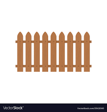 Wooden Fence Icon Farm Wood Wall Yard Cartoon Vector Image