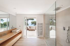 glass pocket doors bathroom modern with