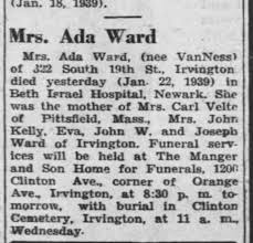 Ada Van Nest Obituary 23 Jan 1939 died 22 Jan 1939 Newark, New Jersey, USA  - Newspapers.com