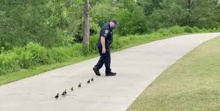 This adorable video of a Houston police sergeant leading little ...