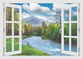 3d Window Landscape Of Forest And River Wall Decal Vinyl 3d Wall Art Vinyl Peel And Stick Removab Vinyl Wall Decals Landscape Walls Landscape