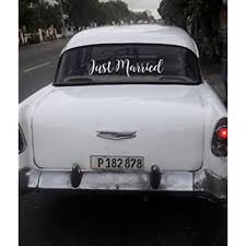 Amazon Com The Paisley Box Just Married Car Decal Wedding Day Car Decorations Just Married Window Sticker Automotive
