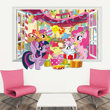 The Little Pony 3d View Window Wall Stickers For Kids Room Wall Decals Poster Diy Mural Art Home Decoration Wall Stickers Aliexpress