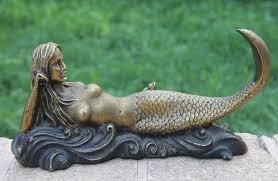 chinese bronze copper mermaid sea maid