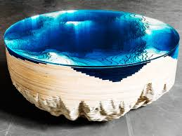 chronic arts wood glass coffee table