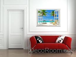 Large Tropical Beach Palm Tree 3d Window View Removable Wall Decals St Idecoroom