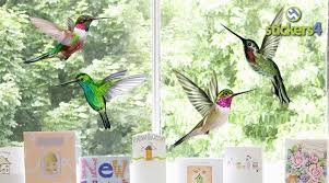 Set Of 4 Humming Bird Window Cling Stickers Stickers4