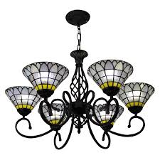 frosted stained glass shade chandelier
