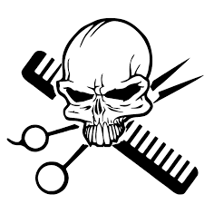Hair Skull Stylist Beauty Parlor Salon Car Truck Window Wall Vinyl Decal Sticker