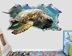 Animal Turtle Sea Wall Decal Decor Smashed 3d Sticker Art Vinyl Ah211 Ebay