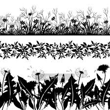 Flowers And Grass Silhouette Set Seamless Wall Decal Pixers We Live To Change