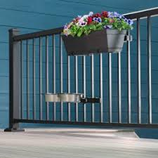 Evelove Wrought Iron Flower Pot Holder Balcony Railing Fence Floral Hanger Hanging Rack Fire Pit Outdoor Fireplace Parts