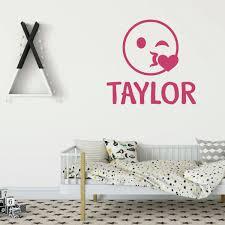 Emoji Wall Decal Wink Vinyl Decor Wall Decal Customvinyldecor Com