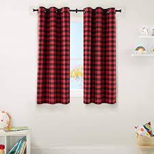 Amazon Com Amazonbasics Kids Room Darkening Blackout Window Curtain Set With Grommets 42 X 63 Red Buffalo Plaid Home Kitchen