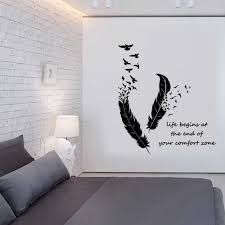 Feathers Turning Into Birds Wall Sticker Art Murals Home Decor Living Room Bedroom Decoration Life Begins Wall Decals Wall Stickers Aliexpress