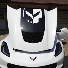 Amazon Com C7 Corvette Stingray Z06 Grand Sport Jake Skull Stinger Stripe Hood Decal Cut Out Stingray Gloss Black Automotive