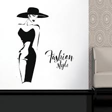 Fashion Lady Model Wll Vinyl Sticker Window Decal For Clothing Boutique Fashion Woman With Black Dress Self Adhesive Murals Fs21 Wall Stickers Aliexpress
