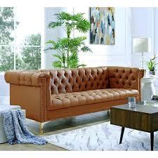ramona camel brown gold pu leather sofa