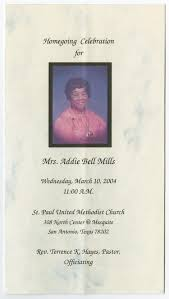 Funeral Program for Addie Bell Mills, March 10, 2004] - The Portal to Texas  History
