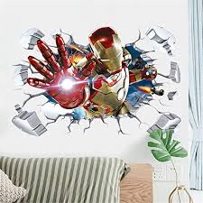 Amazon Com Hu Sha Iron Man Wall Stickers Marvel Wall Decals Excellent Vinyl Removable Wall Decor For Boys Room Living Room 35 4 X 23 6 Inches Home Kitchen