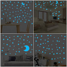 Buy Glow In Dark Star Wall Stickers Round Dot Star Moon Luminous Kids Room Decor By Huazada On Opensky