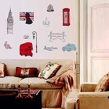 Amazon Com Bibitime British Style London Wall Decal Sticker Telephone Booth Big Ben Tower Bridge Bus Car Street Lights Soldier Helmet Crown Ladies Hat Flag Nursery Kids Room Decor Home Kitchen