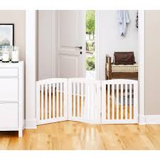 Welland Wooden Freestanding Pet Gate Foldable Indoor Dog Gate Puppy Safety Fence 24 Inch 3 Panel Step Over Fence Expands Up To 60 Wide White Safety Gates Doorways