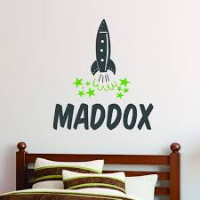Personalized Name Rocket Wall Decal Custom Name Spaceship Etsy