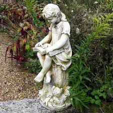 girl reading garden statue stone finish