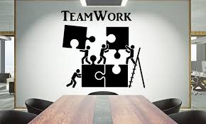 Office Wall Decal Teamwork Quote Wall Sticker Office Decor Etsy Office Wall Graphics Office Wall Decals Office Wall Design