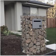 Gabion Mailbox In 2020 Gabion Wall Front Yard Fence Modern Fence