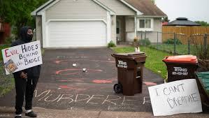 George Floyd Protestors Spray 'Murderer' Outside Home Of Officer Derek  Chauvin