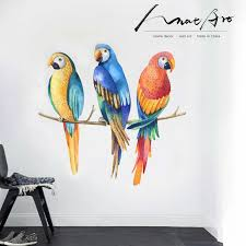Color Parrot Sticker Watercolor Modern Home Bedroom Decor Bird Animal Wall Art Kids Room Decoration Accessories Diy Vinilo Pared Wall Stickers Aliexpress