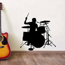 Amazon Com Drummer Silhouette Wall Sticker Drum Player Wall Decal Music Room Decor Removable Vinyl Wall Art Mural Drum Wall Poster Ay1265 Home Kitchen