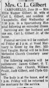 Effie Wagner Obituary - Greenville SC News 29 Jun 1956 - Newspapers.com