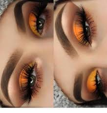 glam orange eye makeup for green eyes