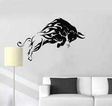 Vinyl Wall Decal Furious Bull Animal Tribal Home Interior Room Art Sti Wallstickers4you